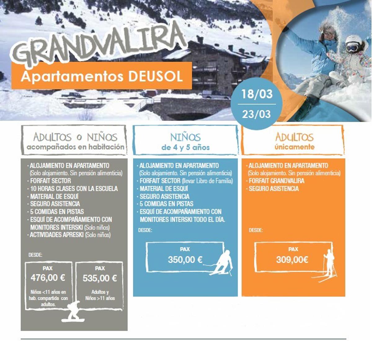 Esquiar en Familia, Apartamentos DEUSOL